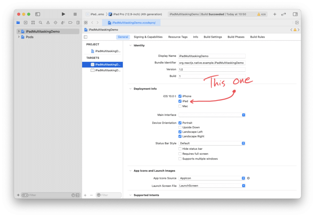 Check this box in Xcode to add iPad support to your React Native app