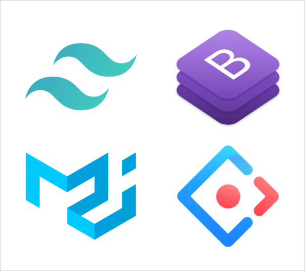 A collage of popular CSS tool logos