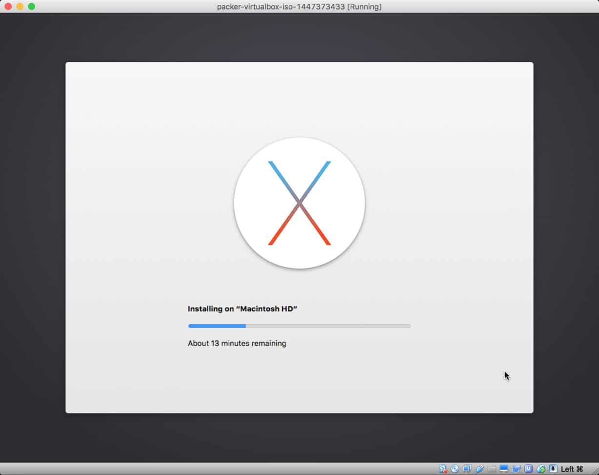 OS X El Capitan installing in VirtualBox via Packer